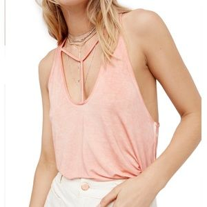 Free People Amelia peach strappy tank top